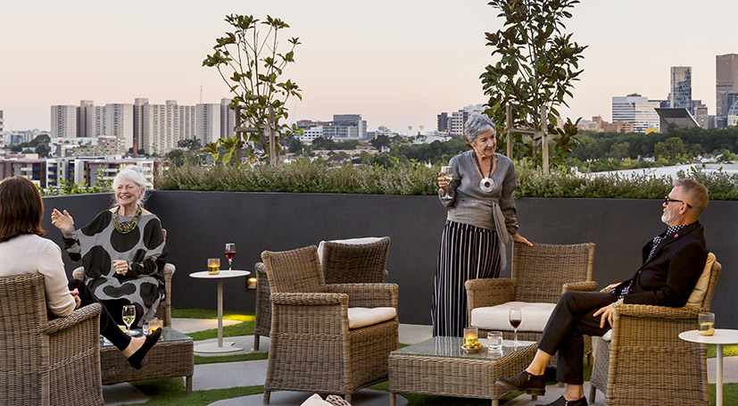 Australian Unity Drummond Place – evening drinks on the roof top terrace