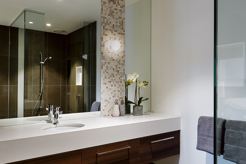 An apartment bathroom at Drummond Place Carlton