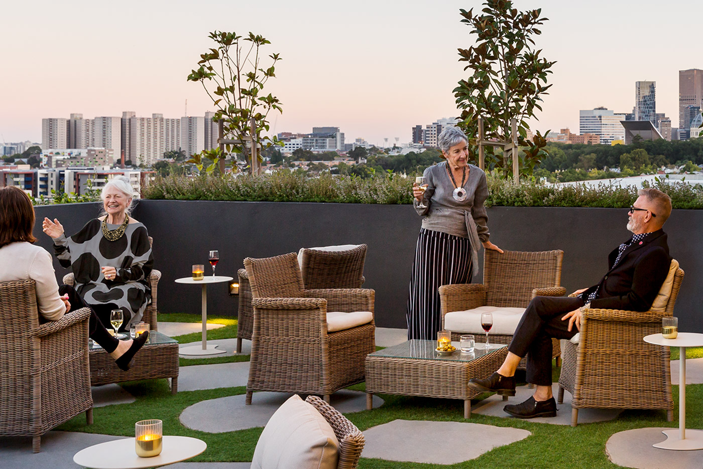 Senior people on the rooftop terrace at Drummond Place